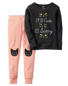 Perfect for a night of fright, this PJ set is crafted in soft cotton with cat appliqués and a sugar glitter graphic. Note: To help keep children safe, cotton pjs shouldalways fit snugly.
