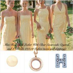 Mini rosegold locket with a pearl and initial. Mini Roses, Prom Dresses, Formal Dresses, Bridesmaids, Swarovski, Pearl, Bridal, Fashion, Moda