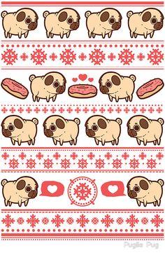 Wallpaper Whatsapp Backgrounds - Puglie Christmas by Puglie Pug - Futuristic Architecture Pug Wallpaper, Iphone Wallpaper, Pug Cartoon, Pug Art, Pug Pictures, Dibujos Cute, Pug Love, Kawaii Art, Cute Wallpapers