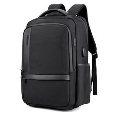 8aa52abf63c1 Men s Business Charging Backpack Waterproof Satchel Bag Large Capacity  Laptop Backpack with USB Charging Port Black