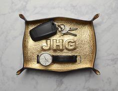 custom monogram metallic leather tray / catch all / mens / dresser organizer / valet tray / personalized mens gift / jewelry bowl by JillBrodeur on Etsy https://www.etsy.com/listing/455044770/custom-monogram-metallic-leather-tray