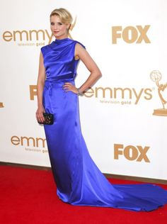 DIANNA AGRON looked stunning at the 2011 Emmys in her royal blue gown by Roksanda Illincic