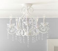 pottery barn 'lydia' flushmount chandelier - clear. $199. this is my new closet/beauty room chandelier.