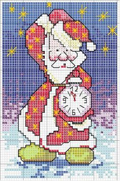 Christmas, Santa, cross-stitch