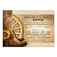 country style rustic wood and cowboy shoes wedding anniversary invitations. Best for garden, country style parties