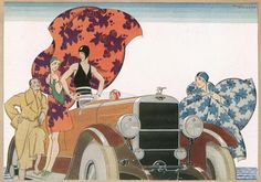 An Art Deco illustration depicting bathers with billowing towels and cloaks gathered around a car at the beach. The caption reads: Modern summer holiday-makers seen through an artists eyes: Bathing-time - the motor-car as bathing machine bringing swimmers direct from house to beach. From the Illustrated London News 16th June 1928.
