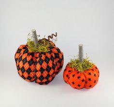 Fall Autumn Halloween Decor, Fabric Pumpkins, Handmade in the USA, American made…