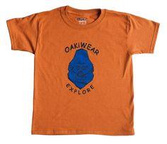 Children's Animal Print Tee, Orange/Blue Gorilla