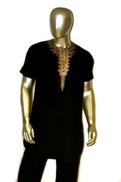 Black and gold men's afrocentric tunic