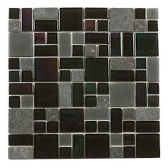 """Found it at Wayfair - Paragon 12"""" x 12"""" Glass Mosaic Tile in Basalt Multi"""