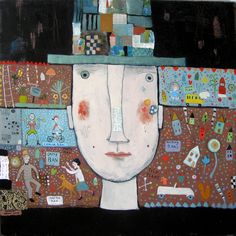 Man with plans Acrylic/collage Muse and Co. Fine Art © Barbara Olsen
