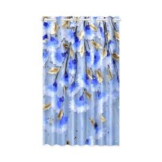 Blue Gold Leaf Pattern Floral Window Curtain 50