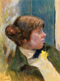 study-for-profile-of-a-woman-in-a-bow-tie.Pierre Bonnard