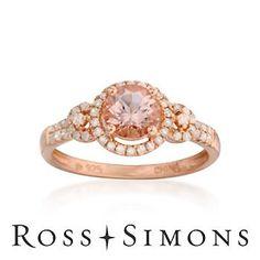 .85 Carat Morganite and .25 ct. t.w. Diamond Ring In Rose Vermeil