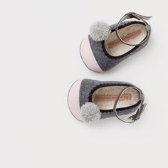 wool & leather baby ballerinas with pompoms