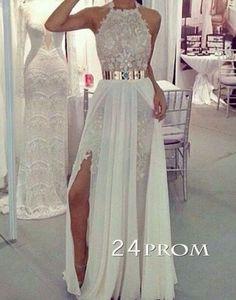 Custom Made White A-line Chiffon Lace Long Prom Dresses, Evening Dress – 24prom