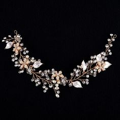 Exquisite Gold Flower Leaf Crystal Pearls Wedding Hair Vine Headband Bridal Headpiece Hair accessories