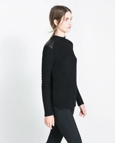 Image 3 of SWEATER WITH FAUX LEATHER APPLIQUÉS from Zara