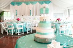 Tiffany Blue Wedding Reception with Pops of Hot Pink and yellow!