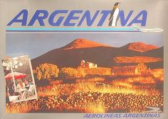 Argentina - Aerolineas Argentinas mid-1980s, arid northwest Argentina countryside and village, and B747