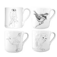 Mixed Mug Set of Four. This fine bone china set articulates a story of perseverance. Each hand-drawn bird is from the journal of Scottish pop star Edwyn Collins, who lost control of his right hand after becoming sick.   $120.00