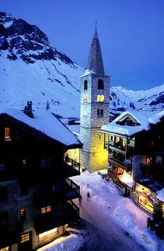 Val d'Isere is nestled on a valley floor.