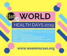 World Health Days Calendar Day List 2020 World Health Day, Home Health, Kids Health, Children Health, Days In September, October, Community Health Nursing, Prayer For My Children, International Health