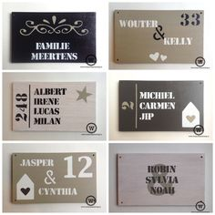 Unieke naamborden voor bij de voordeur vind je natuurlijk bij Wis en Waarachtig. #naambord #voordeur #eigenontwerp Silhouette Cameo Projects, House Numbers, Name Signs, Woodworking Projects, Decoupage, New Homes, Presents, Diy Crafts, Gifts