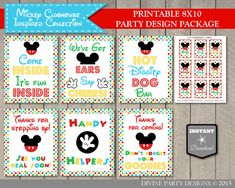 Trendy, cute and affordable printable party decorations by DivinePartyDesign Mickey Mouse Clubhouse Birthday, Mickey Party, Mickey Mouse Birthday, Minnie Mouse, First Birthday Parties, 2nd Birthday, First Birthdays, Birthday Ideas, Mouse Silhouette