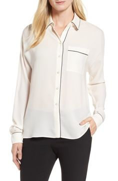 BOSS BOSS Benisa Piped Blouse available at #Nordstrom