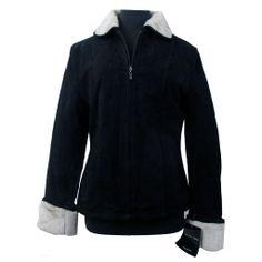 Juliano Celini Outerwear Black Suede Leather Jacket Coat w/ Light Tan Faux Fur