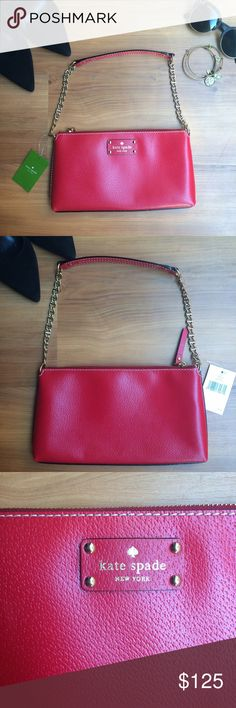 WEEKEND SALE🎉 NWT Kate Spade Wellesley Byrd Bag Beautiful structured shoulder bag from Kate Spade. Wellesley Bryd in Pillboxred (617). New with tags and duster bag. Bold zipper. Gold chain/accents. 100% cow leather. kate spade Bags Shoulder Bags