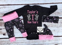 Girls Coming Home Outfit, Custom Names First New Year's 2017,Fireworks,Baby New Year's Outfit, 2017 Outfits,Black,Pink,White,Baby Girl
