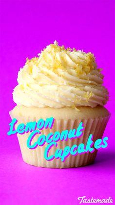 Coconut Vanilla cake with lemon curd centre and lemon buttercream frosting.