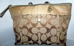Coach Large Signature C Stripe Tote Purse Bag Shopper 11692 Khaki Gold Huge #Coach #TotesShoppers