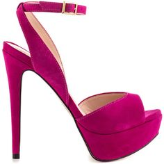 Aldo Women's Perelli - Fuchsia featuring polyvore, fashion, shoes, sandals, heels, footwear, pink, fuschia pink shoes, high heel platform shoes, heels stilettos, peep toe platform shoes and aldo shoes