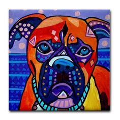 dog coasters  BOXER GIFTS  Decorative Ceramic by HeatherGallerArt, $16.80