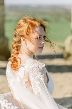 Shades of Wuthering Heights: Boho Bridal Editorial at the Chesterton Windmill Natural Auburn Hair, Wuthering Heights, Hair And Makeup Artist, Bridal Hairstyles, Brides And Bridesmaids, Bridal Portraits, Bridal Looks, Designer Wedding Dresses, Slow Fashion