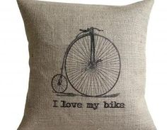 I Love my Bike Vintage Bicycle Burlap Pillow Cover