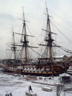 Naval Architecture — bantarleton: HMS Victory in the snow, Old Sailing Ships, Hms Victory, Ship Of The Line, Ship Paintings, Wooden Ship, Nautical Art, Armada, Navy Ships, Submarines
