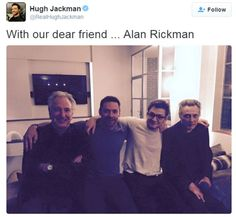 Photo of Alan Rickman with (l to r) Hugh Jackman, Taron Egerton and Christopher Walken