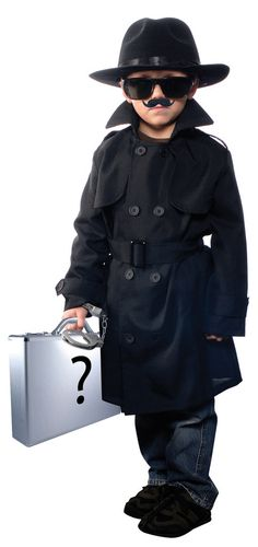 """Jr Secret Agent Child Costume Includes coat, hat, moustache, glasses. Does not include briefcase, handcuffs, pants or shoes. Please note: this costume is running small. Youth Small- chest about 27"""" &"""