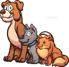 Big, medium and small size cartoon dogs sitting.Vector clip art illustration with simple gradients. Each on a separate layer. EPS1