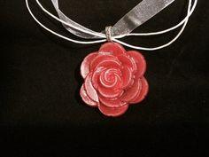 Large rose pendant on organza cord. Pink green red by LilandAriy