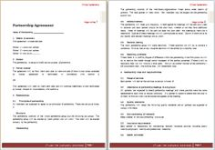 Formal Partnership Agreement Template At WorddoxOrg  Microsoft