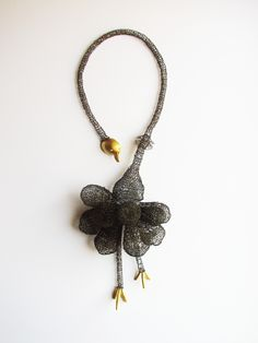 Contemporary black flower necklace, asymmetric necklace