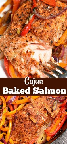 Cajun Baked Salmon Juicy fresh salmon is rubbed with Cajun seasoning and baked with bell peppers garlic and onions Serve it with roasted vegetables over fluffy rice or quinoa salmon easydinner bakedsalmon cajun seafood dinner Best Fish Recipes, Tilapia Fish Recipes, Baked Salmon Recipes, Cajun Recipes, Cooking Recipes, Cajun Food, Fresh Salmon Recipes, Ark Recipes, Catfish Recipes