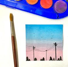 A small painting of the sky🎨 Watercolor Sketch, Watercolor Illustration, Watercolor Paintings, Sky Painting, Small Paintings, My Drawings, Watercolors, Gallery, Roof Rack