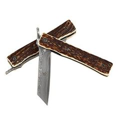 4.5-Inch closed, Total Length 7.5 inches Handmade Damascus Steel Knife Genuine Natural Deer Antler Handle