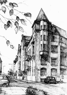 Ink Drawing Ink Drawings Gallery 2014 on Behance - Building Sketch, Building Drawing, Fuchs Illustration, City Drawing, Architecture Sketches, City Architecture, Landscape Architecture, Urban Sketchers, Ink Pen Drawings